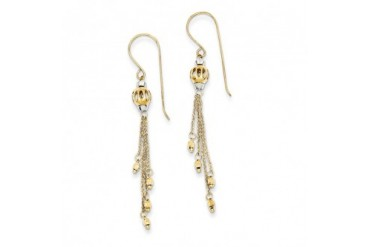 Bead and Chain Dangle Earrings in 14 Karat Two-tone Gold