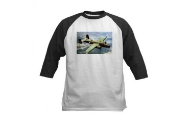 B-25 In Flight Aviation Kids Baseball Jersey by CafePress
