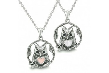 Owl and Cute Heart Love Couple Yin Yang White Light Pink Cats Eye Necklaces