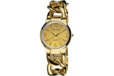 Women s Vernier Gold Tone Oversized Interlocking Link Watch