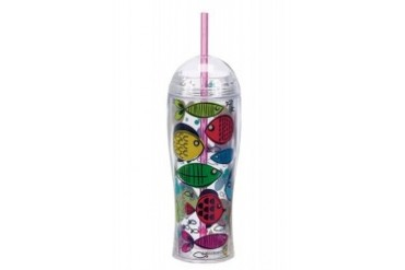 Somethings Fishy Fish Tales 16 oz Insulated Tumbler with Dome Lid and Straw