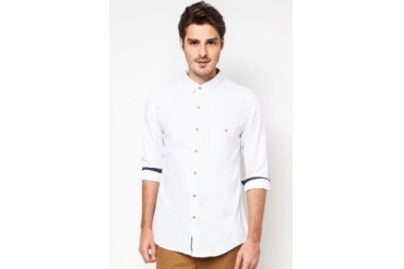 JAXON Slim Fit Long Sleeve Shirt With Contrast Inner Placket