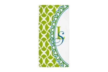 Blue Lime Monogram Beach Towel