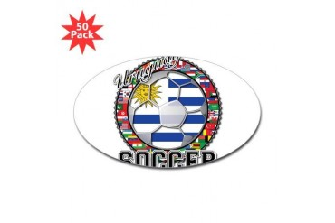 Uruguay Flag World Cup Soccer Ball with World Flag Soccer Sticker Oval 50 pk by CafePress