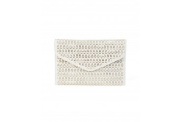 Joseph D'Arezzo Cut Out Metallic Envelope Clutch White