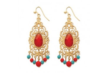 Red Crystal Scrollwork Chandelier Earrings