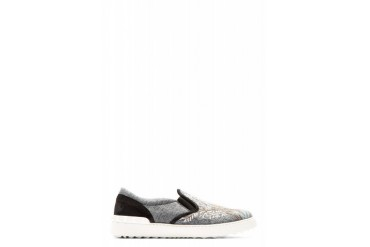 Valentino Grey Embroidered Gemini Zodiac Slip on Shoes
