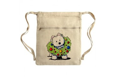 Westie Wreath Sack Pack Dog Cinch Sack by CafePress