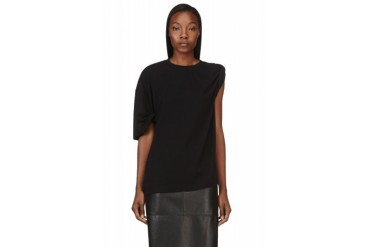 Maison Martin Margiela Black Stretch Jersey Rolled sleeve T shirt