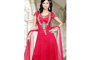 Remarkable Pink Net Anarkali Suit