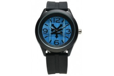 Black Rubber Watch with Blue Dial