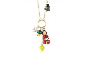 Chaperon et Champignons Little Red Riding Hood Wolf and Mushrooms Necklace