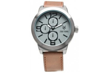 Brown Leather Watch with Gun Metal Dial