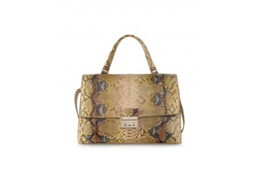 Python Leather Satchel w/Shoulder Strap