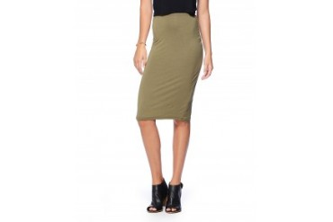 Blq Knit Solid Pencil Skirt Olive, Xs/S