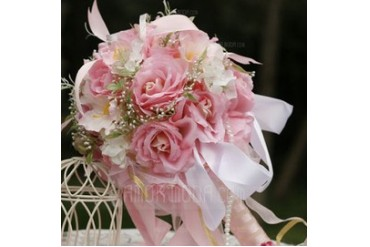 Dreamlike Round Satin Bridal Bouquets (124032108)