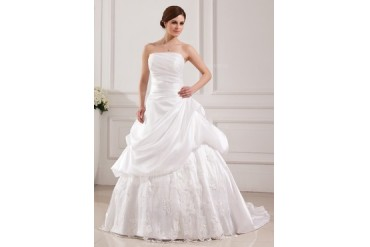 Ball-Gown Strapless Sweep Train Taffeta Tulle Wedding Dress With Lace (002019536)