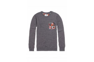 Mens On The Byas Long Sleeve Shirts - On The Byas Dru Floral Pocket Crew Fleece