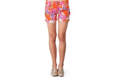 Miss Me Orange Hot Pant Harem Print Flower With 2 Button