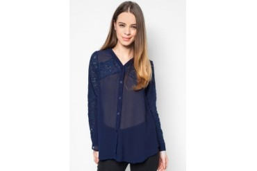 Something Borrowed Lace Panel Across Blouse