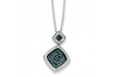1 3 Ctw Blue amp White Diamond Double Square Necklace in Sterling Silver