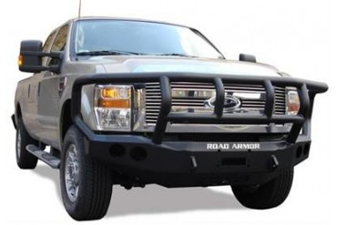 Road Armor Front Stealth Winch Bumper with Titan II Guard in Satin Black 44072B Front Bumpers