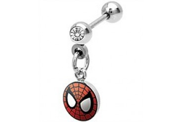Marvel Comics Spider-Man Mask Clear Gem Stainless Steel Cartilage Earring