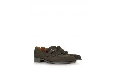 Dark Brown Suede Fringed Loafer