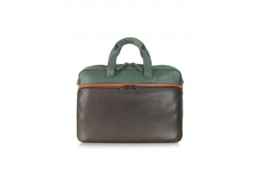 Life File Green and Brown Leather Briefcase