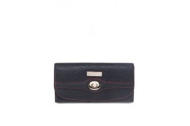 Unisa Contrast Stitching Long Ladies Wallet With Turn Lock
