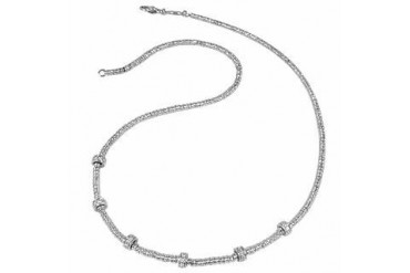 Rondelle Moving Mini - White Gold and Diamond Necklace