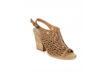 Volatile 'Daisy Girl' Laser Cut Sling-Back Sandals Tan, 10