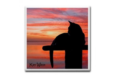Custom Cat Tile Coaster by CafePress