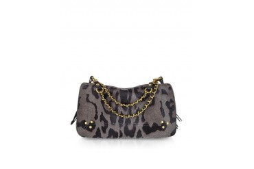 Bobi Grey Leopard Print Haircalf Shoulder Bag