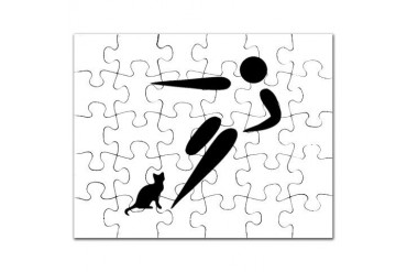 Kick Cat Funny Puzzle by CafePress