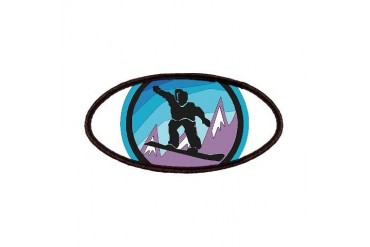 snowboard circle brush strokes black.png Sports Patches by CafePress