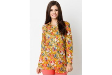 Triset Ladies Flower Print Long Sleeve Shirt with Collar