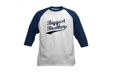 Biggest Brother (Blue Text) Kids Baseball Jersey